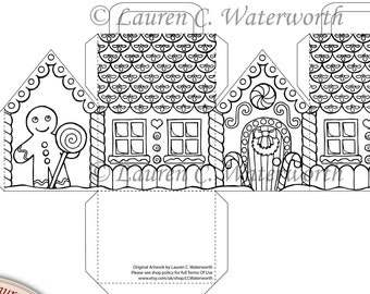 Digital Stamp Gingerbread House Kit, children's activity, Party favours, Christmas Gifts and Treats, candy box, line art, colouring page