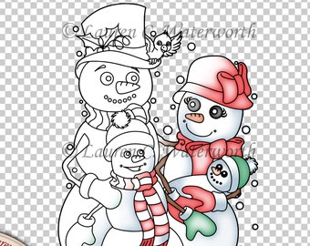 Snowman Family Digital Stamp, colouring page, line art, christmas digistamp, festive, seasonal, card making, black and white line, cute
