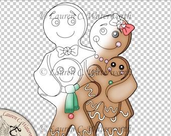 Gingerbread Family Digital Stamp Gingerbread Man, line art, christmas digistamp, festive, seasonal, card making, black and white line, cute