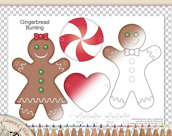 Printable Gingerbread Bunting, children's activity, Party favours, Christmas decorations, candy box, line art, colouring page, Digital Stamp