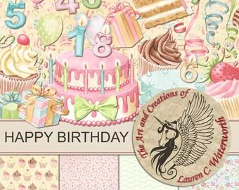 Happy Birthday Clipart, printable card making, digital scrapbook kit, toppers, planner printables, bullet journal, cakes, celebration