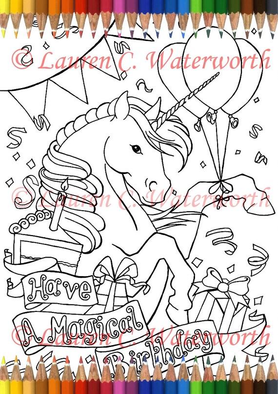 Birthday Unicorn Colouring Page Digi Stamp Adult art ...