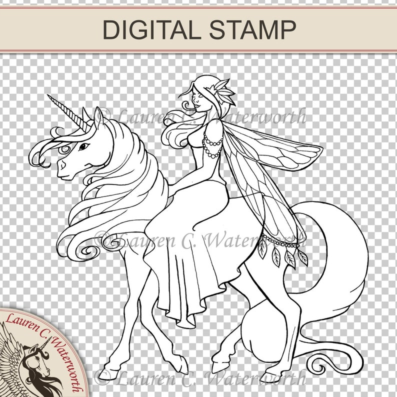 Fairy Riding Unicorn Digital Stamp colouring page Digistamp image 0
