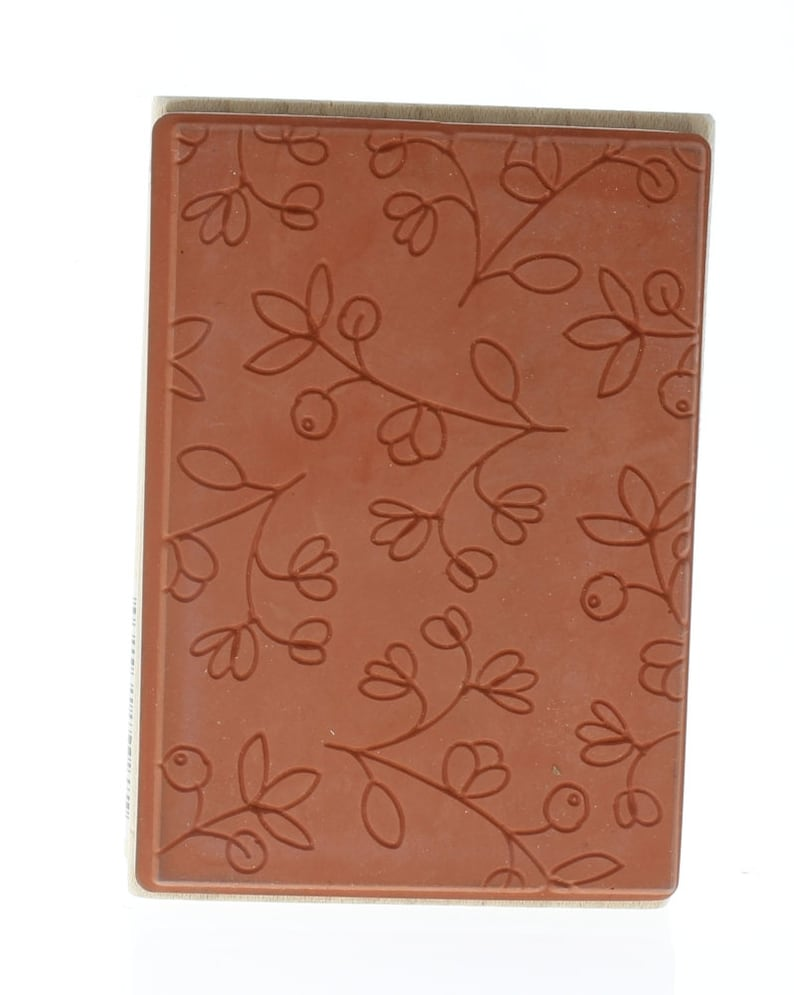 Hampton Art Negative Space Floral Background whimsical Wooden Rubber Stamp