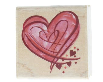 Hampton Art Whimsical Heart Cluster Collage Stamp Wooden Rubber Stamp