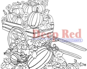 Deep Red Rubber Stamp Pumpkin Harvest Fall Patch