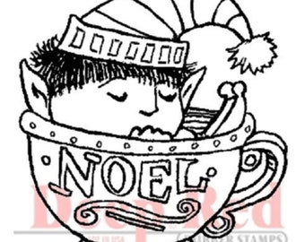 Deep Red Rubber Stamp Noel Elf in a Holiday Egg Nog Cup Freedom