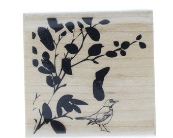 Hampton Art Tree with Leaves and Robin Bird Stamp Wooden Rubber Stamp