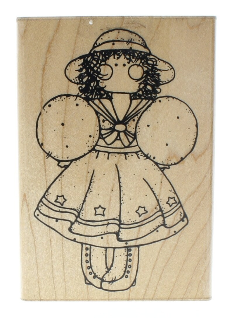 Dots Miss August Chesea S162  Little Girl with a Hat Wooden Rubber Stamp
