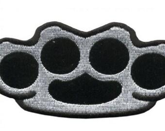 "Motorcycle Biker Uniform Patch 4"" x 2""  Brass Knuckles"