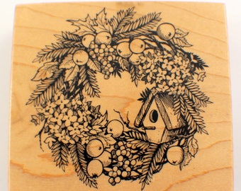 Psx Birdhouse Fruit And Floral Wreath Bird House K-1593 1995 Wooden Rubber Stamp