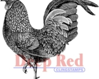 Deep Red Rubber Stamp Rooster Farm Animal Bird
