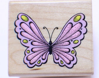 Full View Butterfly C 247 Hero Arts 1989  Wooden Rubber Stamp