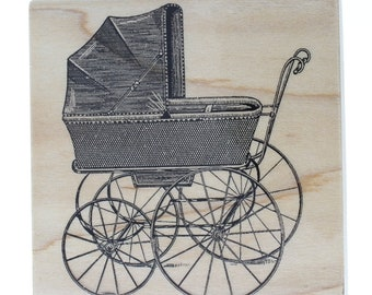 Hampton Art Vintage Style Baby Buggy Carriage Stamp Wooden Rubber Stamp