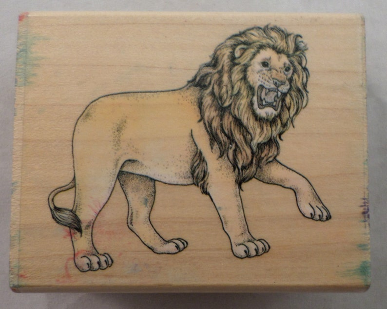 Rubber Stampede Zoo Animal Roaring Lion King Of Beast  Wooden Rubber Stamp