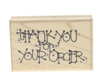 Dots Thank you for Your Order J230 Wooden Rubber Stamp