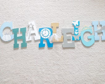 Cinderella Butterfly Silver and Blue Custom Wood Letters