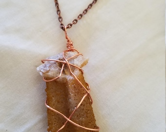Awesome Wire Wrapped Double Spirit Quartz Crystal Necklace