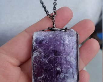 Gunmetal Wire Wrapped Lepidolite Necklace