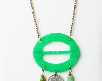 """Vintage """"Luck"""" Buckle  Necklace"""