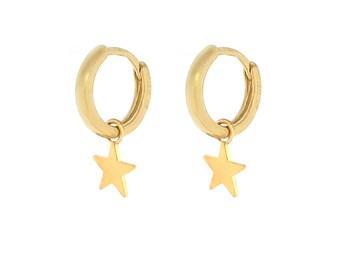 Dainty small Star huggie hoop earrings, Gold plated silver earrings
