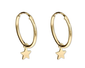 Star hoop earrings in gold plated silver, Removable charm hoops