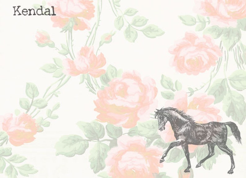 Vintage Style Rose Horse note cards image 0