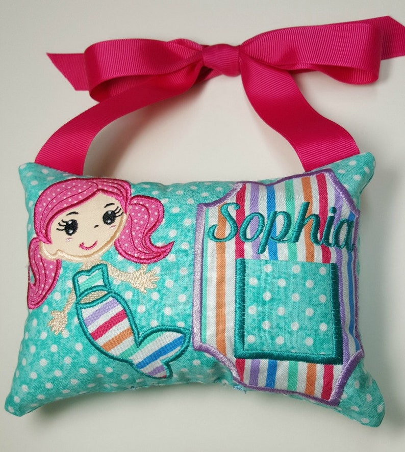 Girls Mermaid Cutie personalized tooth fairy pillow