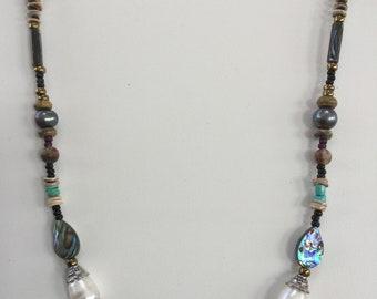 Pearl and semi precious necklace