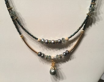 Tahitian double strand pearl necklace