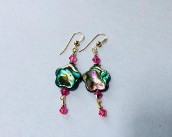 Pinky Girl abalone shell earrings