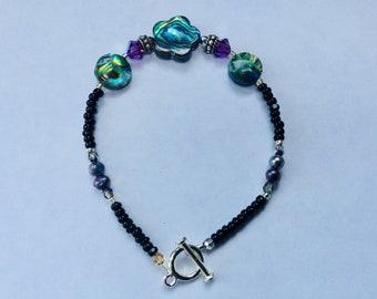 Plum Purple Passion Abalone shell bracelet