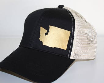 32797b21c16f0 Washington Pride Trucker Hat - Matte Gold WA - FREE SHIPPING - Black and  Cream Trucker Hat - Organic  Recycled Material Hat