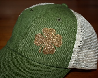a99db0cb4e2 LUCKY Four Leaf Clover  Sparkly  Hat -FREE SHIPPING-  Lucky  Trucker Hat -  Gold Sparkly Hat