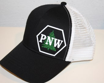 PNW Trucker Hat - FREE SHIPPING - Sparkly Tree Pacific Northwest Pride -  Black   White Organic  Recycled Material Trucker Hat e9e0f9ec0f2d