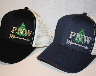 PNW + Tree + Arrow Trucker Hat - FREE SHIPPING - Sparkly Northwest Pride -  Navy or Black Organic  Recycled Material Trucker Hat 501a8d215de0