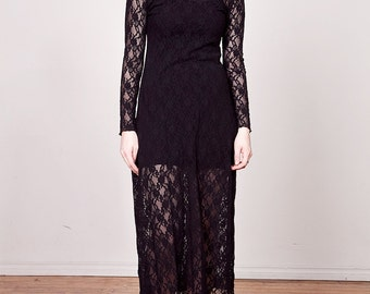 Vintage 90s Black Lace Maxi Dress / Long Sleeve Sheer Dress M