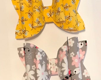 Floral and Little Bee Fabric Hair Bow Set, Girls Hair Bow, Girls Hairband