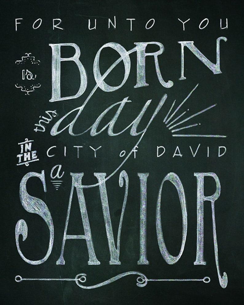 Christmas Bible Verse Printable Chalk Art  2 24x36 typography image 0