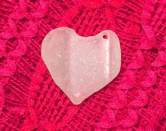 Genuine Ocean Tumbled Sea Glass Heart Pendant Drilled