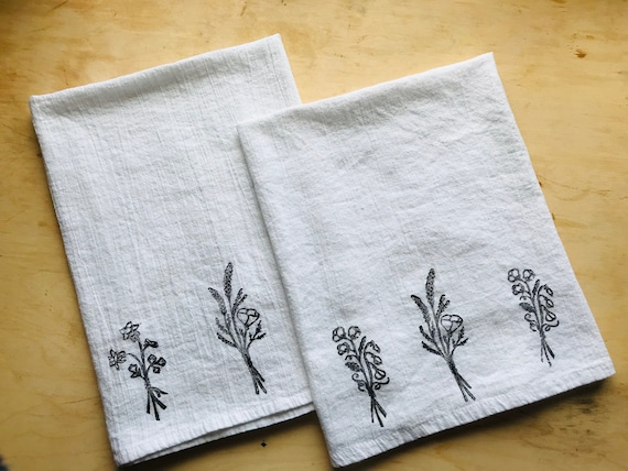 Wildflowers kitchen towels- hand printed print cotton tea towels, printed  tea towel, hand printed towels