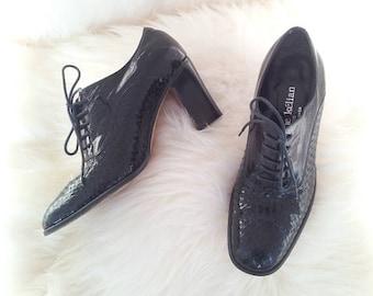 02a009bb9e5 Oxford Pumps 5.5 90s Vintage Stephane Kelian Black Almond Toe Chunky Heel  Lace Up Patent Woven Leather High Heel Oxfords 80s Menswear Shoes