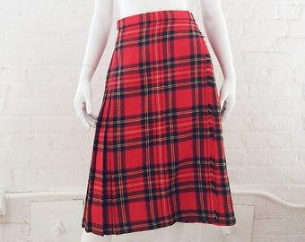 71607e7778bb39 Red Plaid Wool Skirt Vintage Tartan Kilt Small Pleated Skirt School Girl  Grunge Punk Rock 90s Boho Fringe Skirt 80s Preppy Plaid Midi Skirt
