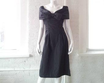 c9bd849c716 Black Cocktail Dress 1960s Vintage Wiggle Dress Shelf Bust Bow Off Shoulder  Portrait Collar Oggee Rizkalla Small 1950s Bombshell Prom Dress