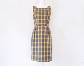 1960s Gray Yellow Plaid Cotton Shift Dress 60s Vintage Mod Mid Century Modern Pencil Skirt Small Medium Mad Men Summer Wiggle Sheath Dress