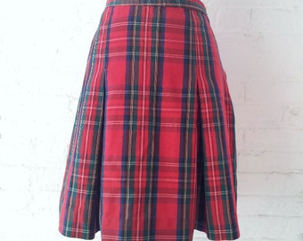 53deadacdeb17c Red Plaid School Girl Skirt 90s Vintage Medium Full Pleated Skirt Preppy  Goth Grunge Lolita Schoolgirl Uniform Punk Rock Clueless Skirt