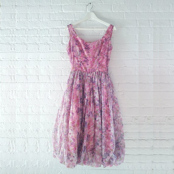 2a5b7323546 1950s Pink Floral Prom Dress 50s Vintage Fit Flare Purple