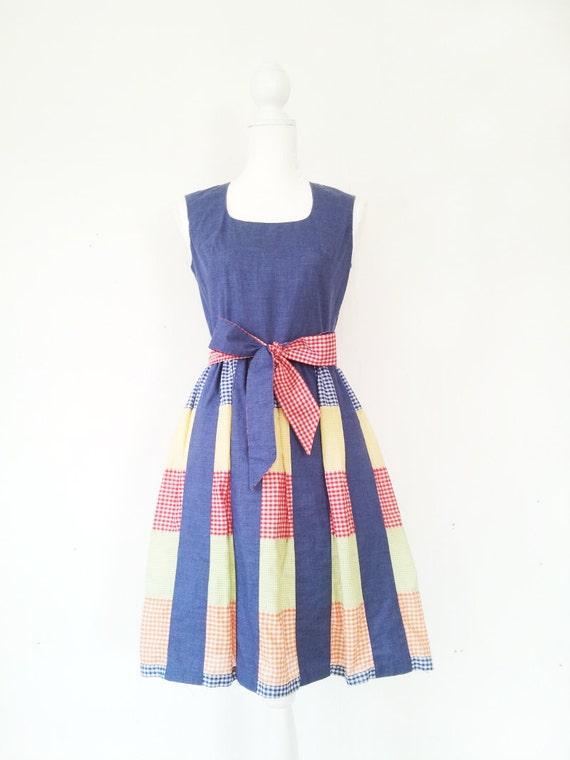 Vintage Patchwork Dress Vintage Gingham Dress 196… - image 3