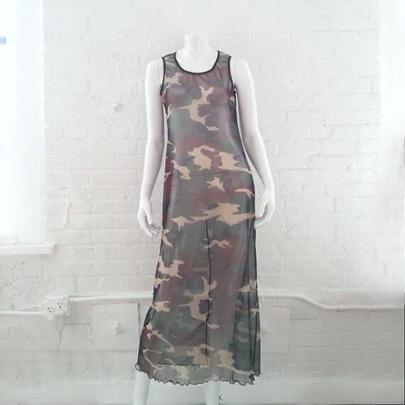 81838e18febc6 Camo Mesh Maxi Dress 90s Vintage Sheer Green Black Minimalist | Etsy