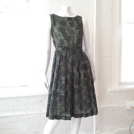 Green Fit and Flare Dress 60s Vintage 1960s Mod Bl